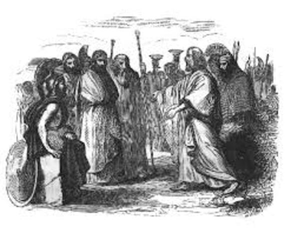 El pueblo se reúne con telémaco en el Agora