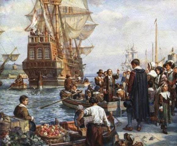 Llegada del Mayflower a las costas estadounidenses
