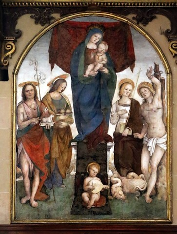 Aspertini 1508-09,Madonna col Bambino e i santi Giovanni Battista, Agata, Margherita e Sebastiano, Lucca, San Frediano