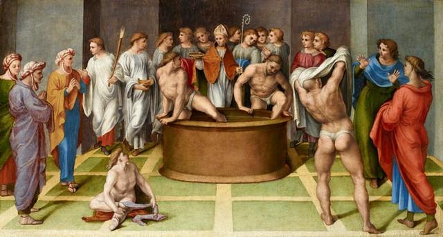 Gerolamo Genga, Sant'Agostino battezza i catecumeni, 1516-1518, olio su tavola,Bergamo, Accademia Carrara