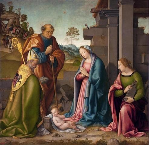 Raffaello Botticini  (1474-1525)  Adorazione del Bambino con Santa Barbara e San Martino  1512  San Pietroburgo, Hermitage Museum