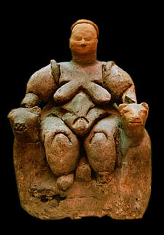 Enthroned Goddess of a Catal Huyuk (Cave Art)