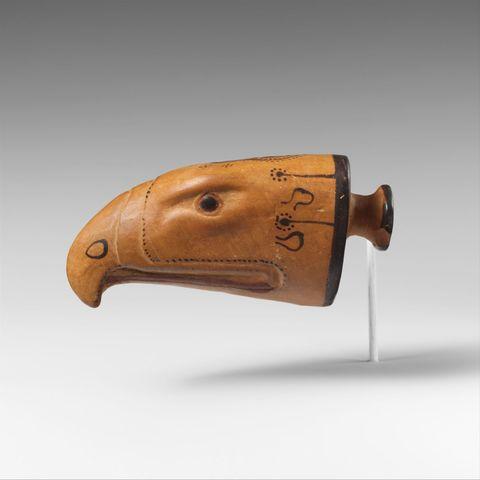 Terracotta Aryballos in the form of an eagles head (archaic)