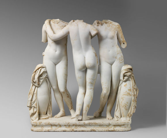 Marble statue group of the 3 graces (Hellenistic)