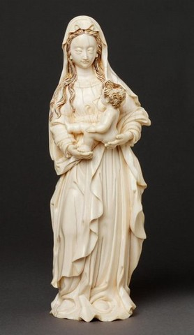 Virgin and Child ivory carving (Gothic)