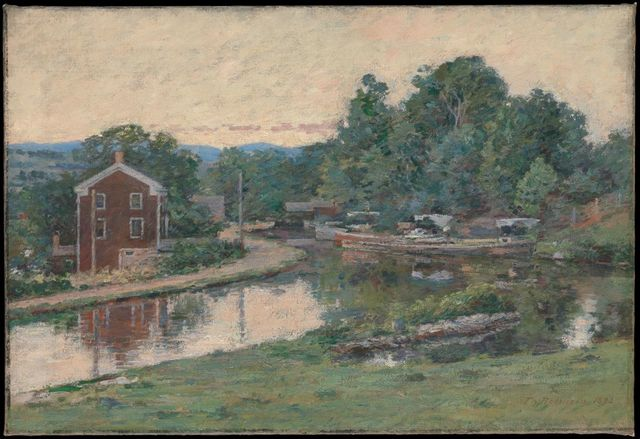 Evening at the Lock (American Impressionism)