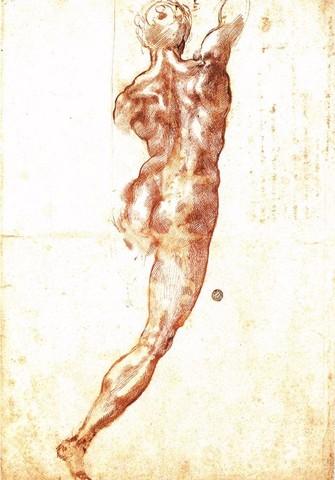 Michelangelo, Nudo di schiena, penna e matita nera