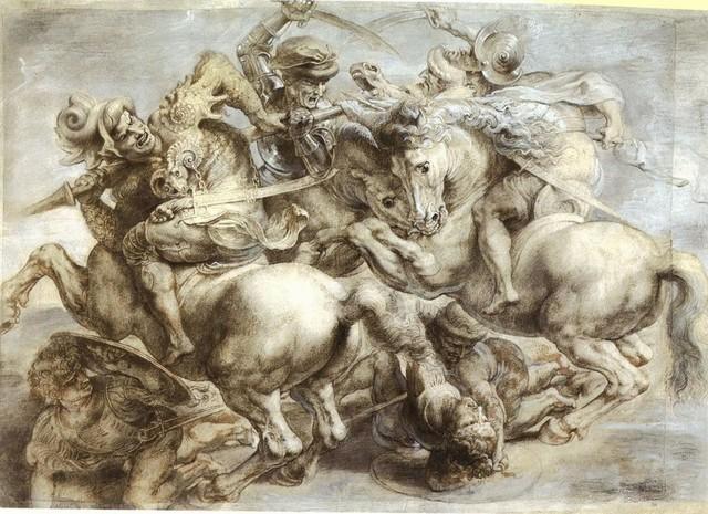 Rubens, copia della Battaglia di ANGHIARI, Louvre; parte centrale, dal cartone ?