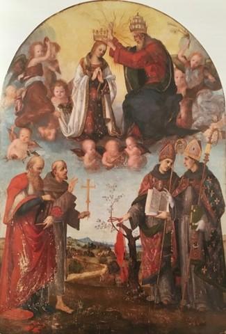 Maestro di Memphis (Bernardo di Leonardo), Alonso Berruguete, Ridolfo del Ghirlandaio, Incoronazione della Vergine 1516-1517, olio su tavola, Parigi, Musée du Louvre