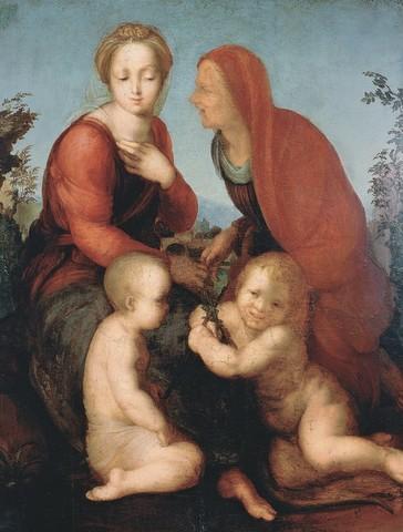 Alonso Berruguete,Madonna col Bambino, Sant'Elisabetta e San Giovannino,1516-1517, olio su tavola, Roma, Galleria Borghese