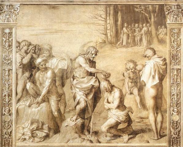 Andrea del Sarto, Battesimo delle moltitudini, monocromi del Chiostrino dello Scalzo, via Cavour