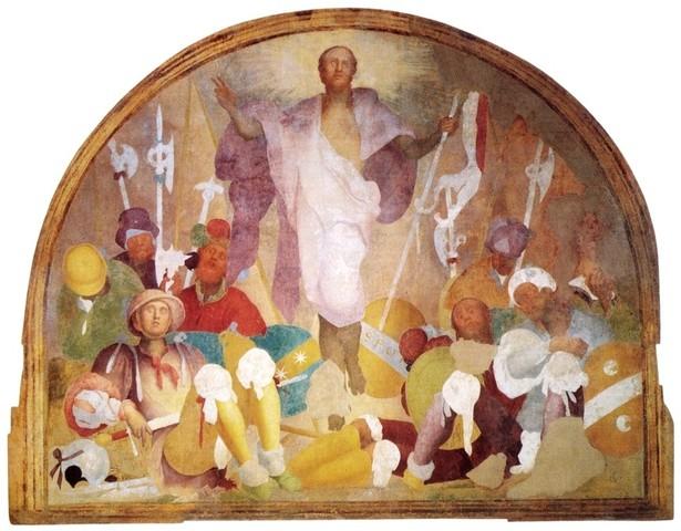 Pontormo, Resurrezione,1523-1525, pittura a fresco, Firenze, Certosa del Galluzzo