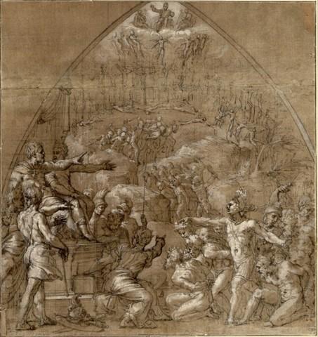 Perin del Vaga, Studio per i Diecimila martiri, 1522-1523, Penna e inchiostro bruno, acquerello bruno, lumeggiato a biacca, su carta marrone, Vienna, Albertina