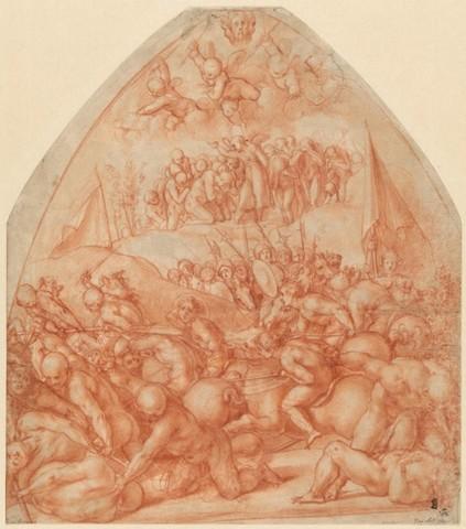Pontormo, Studio per i Diecimila martiri, 1523 circa, matita rossa, Amburgo, Kunsthalle