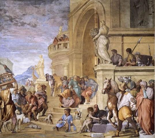 Andrea del Sarto, Tributo a Cesare, 1521, pittura a frescoPoggio a Caiano, Villa Medicea