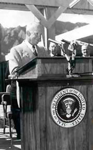 President Dwight D. Eisenhower dedicated the new federal labs building in Boulder.