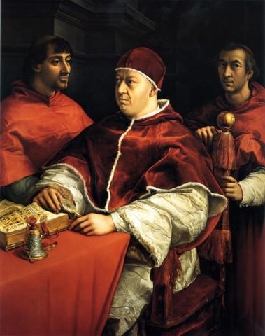 Raffaello, Ritratto di Leone X con i cardinali Giulio de'Medici (futuro Papa Clemente VII) e Luigi de'Rossi, 1518, Uffizi