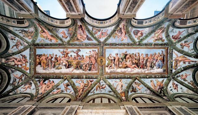 Loggia di Psiche, villa Farnesina, Raffaello, Giovanni da Udine, Sebastiano, Giulio Romano, Sodoma, Penni