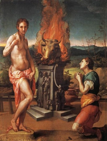 Agnolo Bronzino, Pigmalione e Galatea, 1529-1530, olio su tavola, 81x63, Firenze, Galleria degli Uffizi