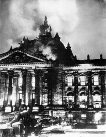 Adolf Hitler is granted emergency powers as a result of the burning of the Reichstag building.