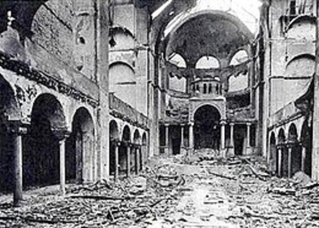 Nazi's storm, raid and burn Jewish homes and business, this becomes known as Kristallnacht, or The Night of Broken Glass.