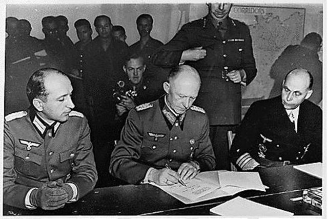 Germany officially surrenders and the Holocaust ends.