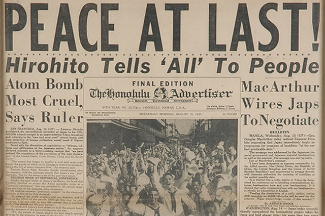 Japan surrenders, this becomes known as V-J Day, or Victory over Japan day.