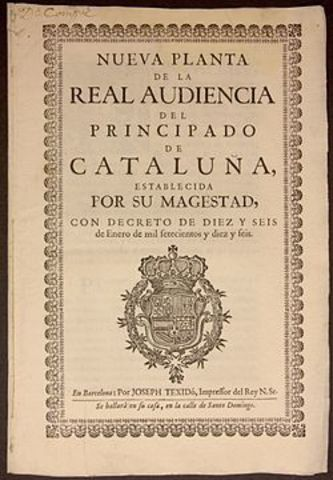 Felipe V impone los Decretos de Nueva Planta.