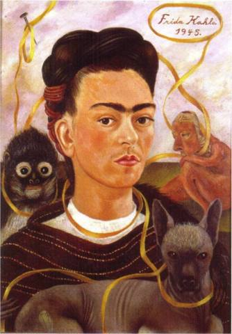 Self-Portrait with Small Monkey- Frida Kahlo