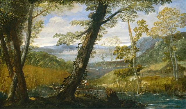 Annibale Carracci, paesaggio fluviale, 1589-90 ca., WNGA