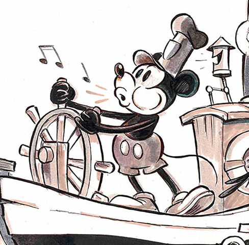 """Mickey Mouse makes his first appearance in the short film """"Steamboat Willie"""""""