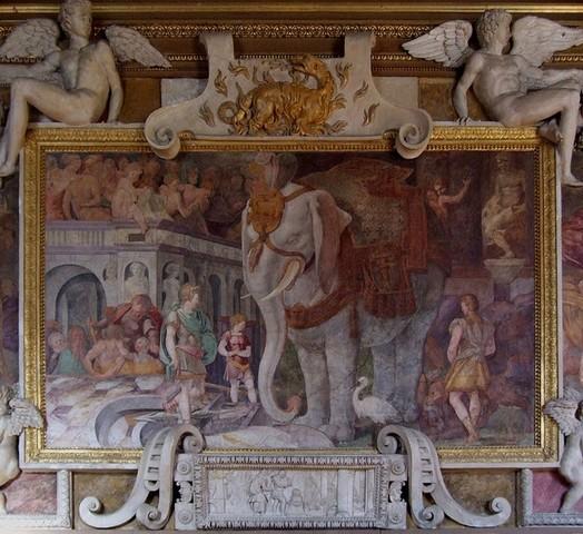 Rosso Fiorentino, Elefante reale, Galleria di Francesco I a Fontainebleau, 1536