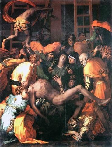 Rosso Fiorentino,Deposizione,1527-1528, olio su tavola,Sansepolcro, Chiesa di San Lorenzo