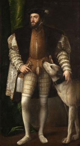 Tiziano, Carlo V con il suo cane,1533, olio su telaMadrid, Museo del Prado