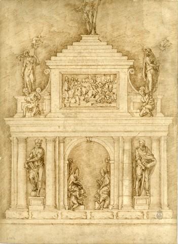 Baccio Bandinelli, Progetto per la tomba di Leone X e Clemente VII, 1535, Madrid, Accademia di San Fernando