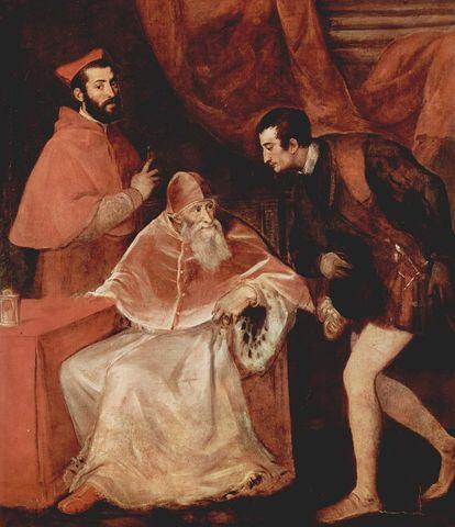 Tiziano, Paolo III e i nipoti Alessandro e Ottavio Farnese, Capodimonte