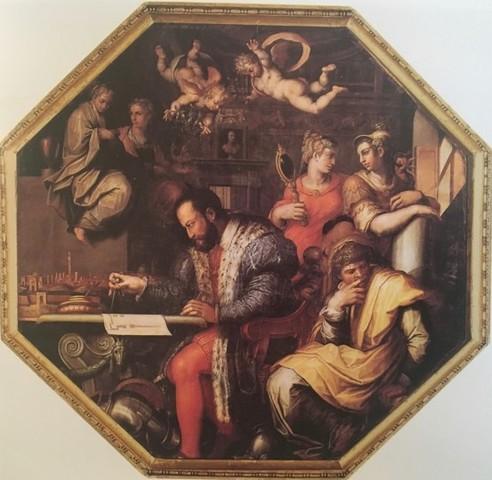 Vasari,Cosimo I studia l'assedio di Siena, Salone dei Cinquecento