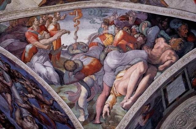 Michelangelo,Sistina,Adorazione del serpente,1511-12