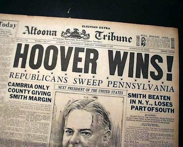 Herbert Hoover was elected president