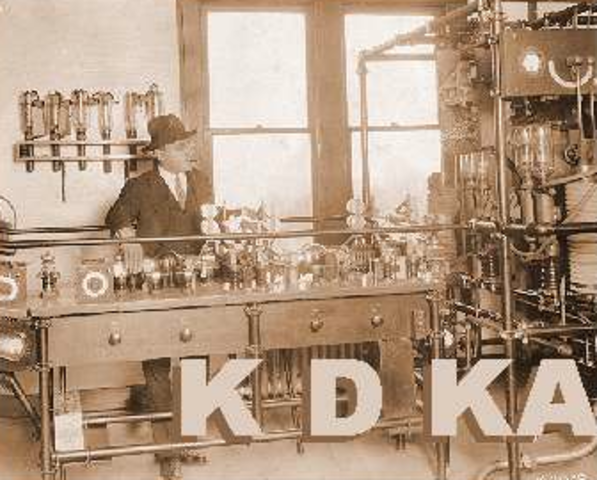Radio station KDKA airs the first commercially broadcast program
