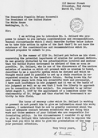 Einstein Writes a Very Famous Letter to President Roosevelt