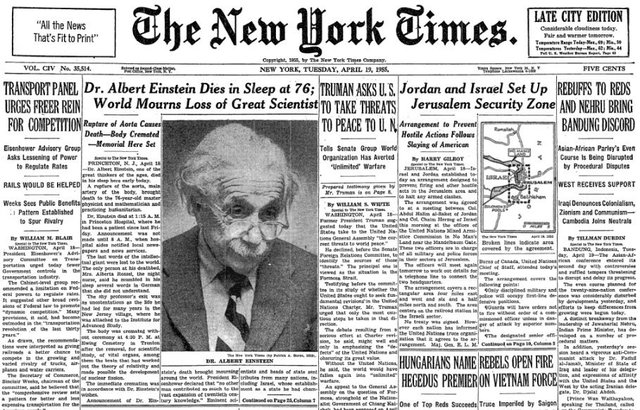 Einstein Dies in Princeton, New Jersey of Internal Bleeding