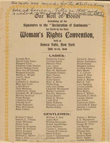 Women's Rights Convention at Seneca Falls