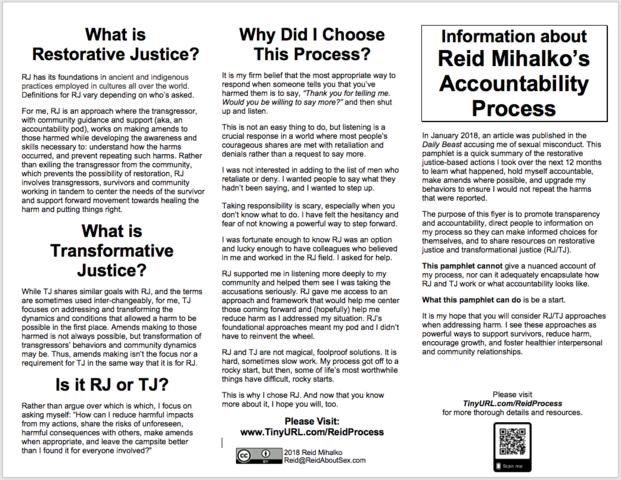 Reid Creates Workshop Flyer for Accountability Transparency