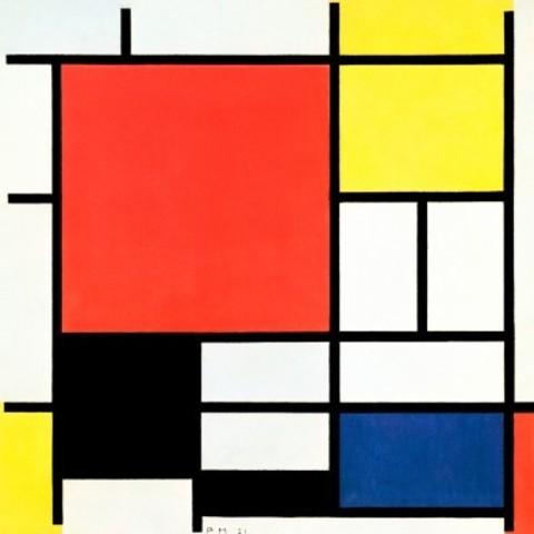 Compositie 2 in Rood Blauw en Geel