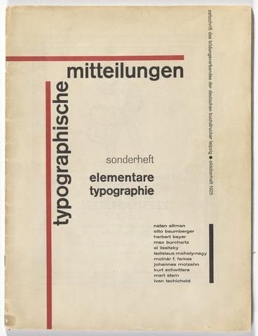 Jan Tschichold - Typographische Mitteilungen: Elementare Typographie