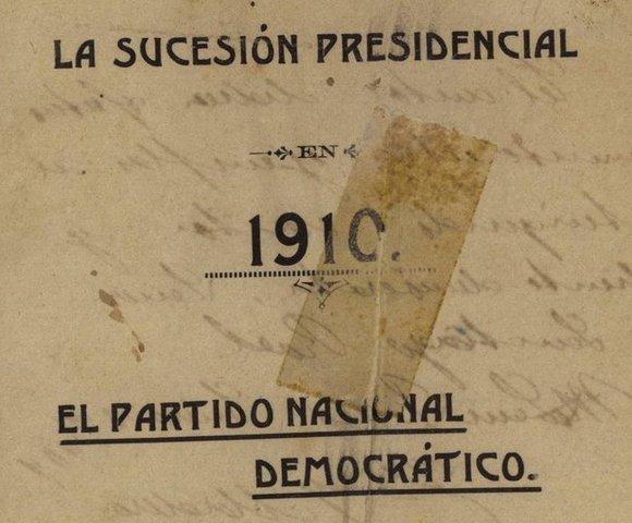 """Libro: """"La sucesión presidencial en 1910"""""""