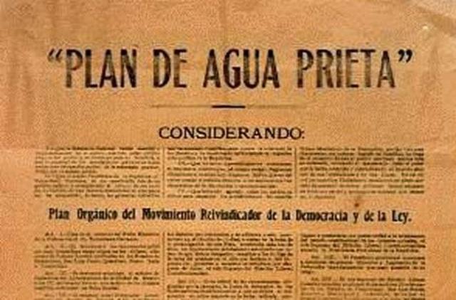 Obregón publica el plan de agua prieta donde desconoce a Carranza