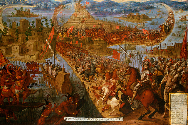 Hernan Cortes invades Mexico, completing his conquest of the Aztec empire in 1521 and establishes the colony of New Spain.