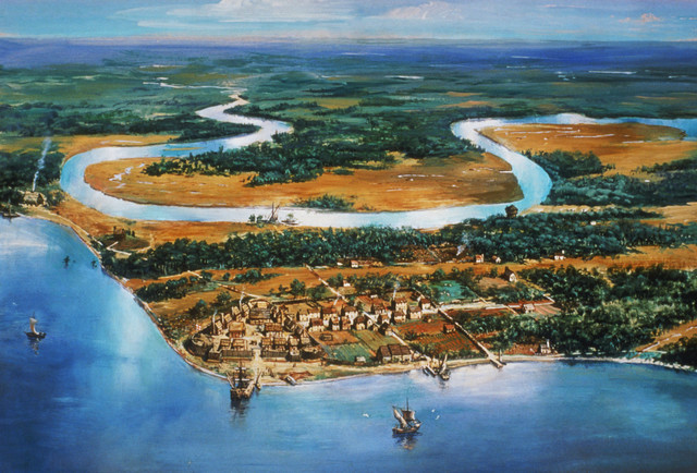 Colonists land at Jamestown